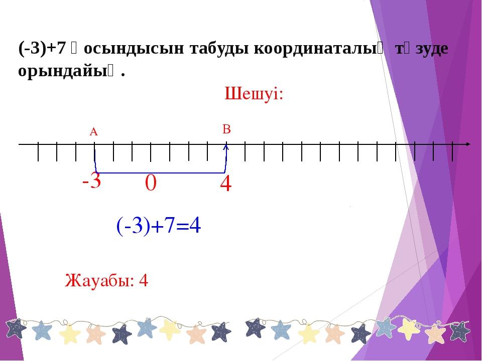 (-3)+7=4 В -3 Шешуі: 0 Жауабы: 4 (-3)+7 қосындысын табуды координаталық түзуд...