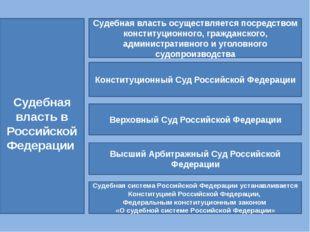 Судебная власть в Российской Федерации Судебная власть осуществляется посред