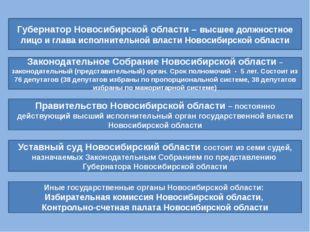 Губернатор Новосибирской области – высшее должностное лицо и глава исполнител