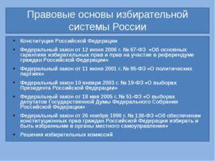 Правовые основы избирательной системы России Конституция Российской Федераци