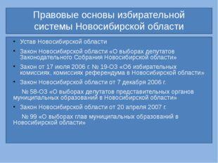 Правовые основы избирательной системы Новосибирской области Устав Новосибирс