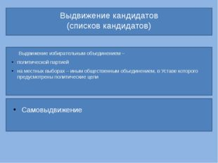 Выдвижение кандидатов (списков кандидатов) Выдвижение избирательным объедине