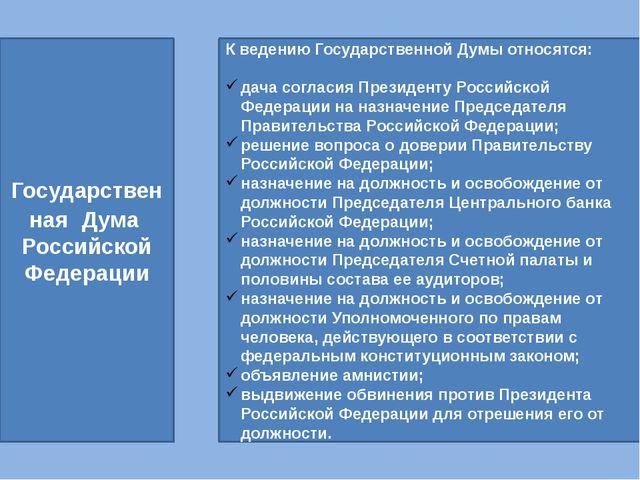 Государственная Дума Российской Федерации К ведению Государственной Думы отно...