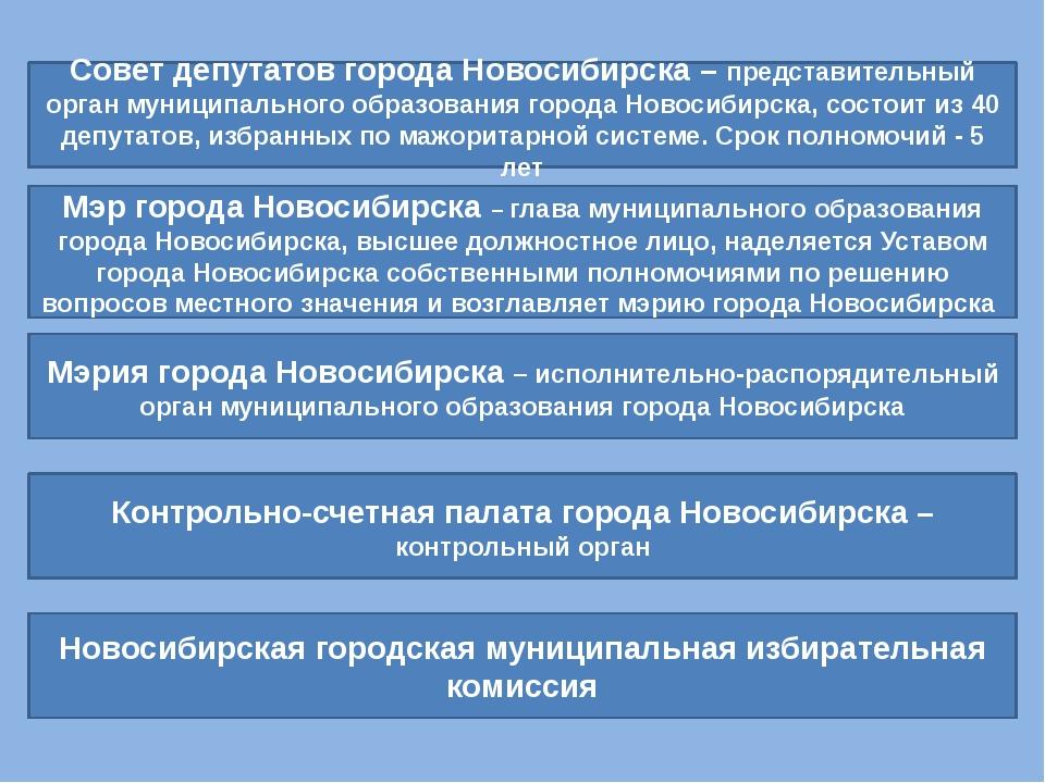 Совет депутатов города Новосибирска – представительный орган муниципального о...