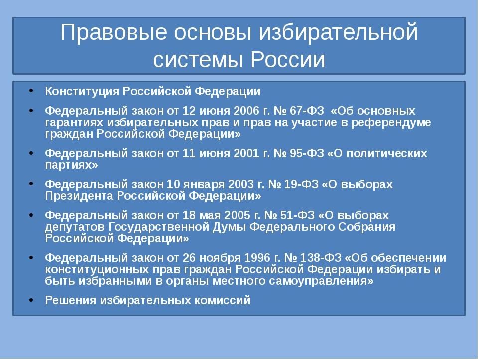 Правовые основы избирательной системы России Конституция Российской Федераци...