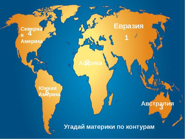 Евразия Африка Австралия Южная Америка Северная Америка Угадай материки по ко...