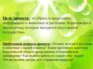 Цель проекта: «Собрать и представить информацию о животных и растениях Ворон