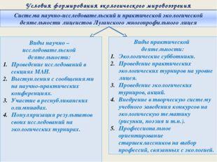 Условия формирования экологического мировоззрения Система научно-исследовате