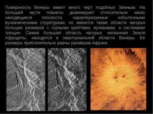 Поверхность Венеры имеет много черт подобных Земным. На большей части планеты