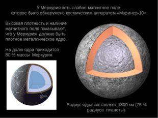 УМеркурияестьслабоемагнитноеполе, котороебылообнаружено космическимап