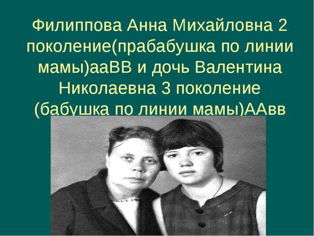 Филиппова Анна Михайловна 2 поколение(прабабушка по линии мамы)ааВВ и дочь Ва...