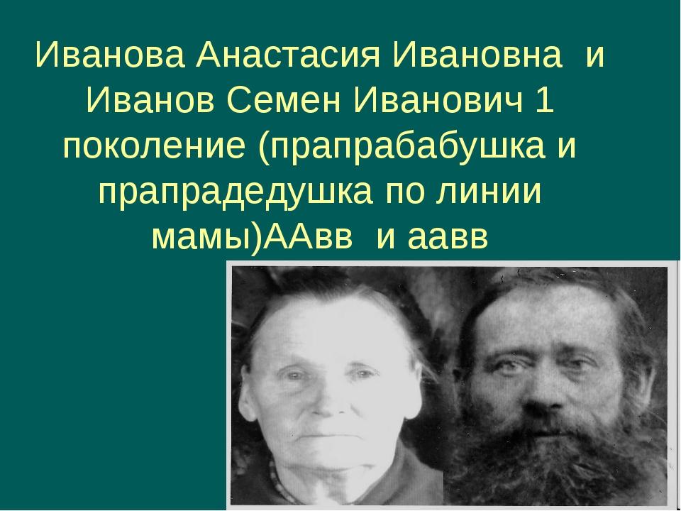 Иванова Анастасия Ивановна и Иванов Семен Иванович 1 поколение (прапрабабушка...