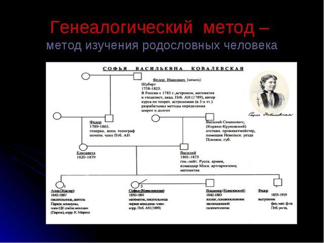 Генеалогический метод – метод изучения родословных человека