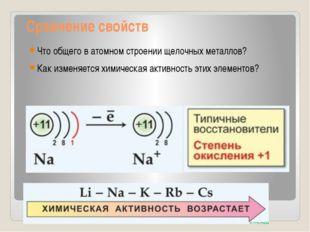 Сравнение свойств Что общего в атомном строении щелочных металлов? Как изме