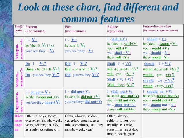 Look at these chart, find different and common features