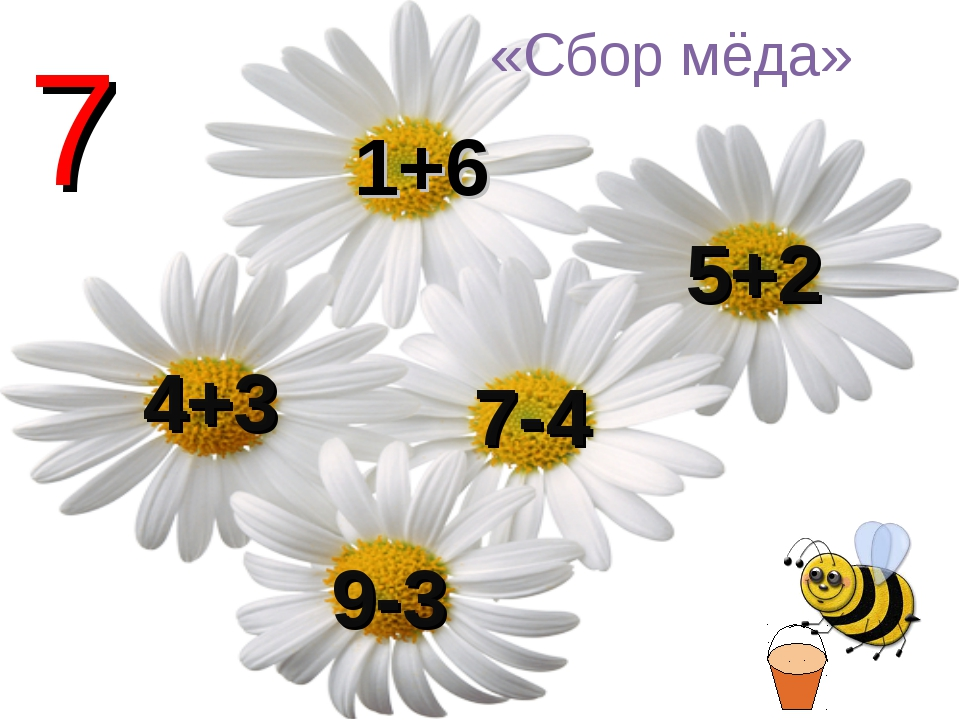 1+6 5+2 7-4 9-3 4+3 7 «Сбор мёда»