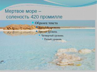 Мертвое море – соленость 420 промилле