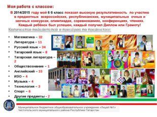 Математика – 32 Литература – 11 Русский язык – 34 Татарский язык – 8 Татарска