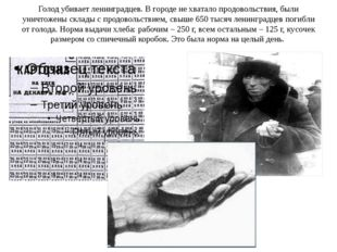 Голод убивает ленинградцев. В городе не хватало продовольствия, были уничтоже