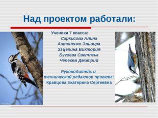 Над проектом работали: Ученики 7 класса: Саркисова Алина Антоненко Эльвира За