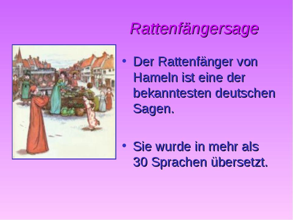 Rattenfängersage Der Rattenfänger von Hameln ist eine der bekanntesten deuts...