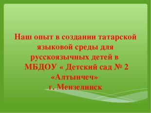 Наш опыт в создании татарской языковой среды для русскоязычных детей в МБДОУ