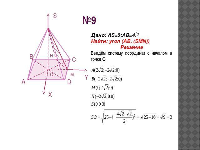 №9 S Y X O D C B A N M Дано: АS=5;АВ=4 Найти: угол (AB, (SMN)) Решение Введём...