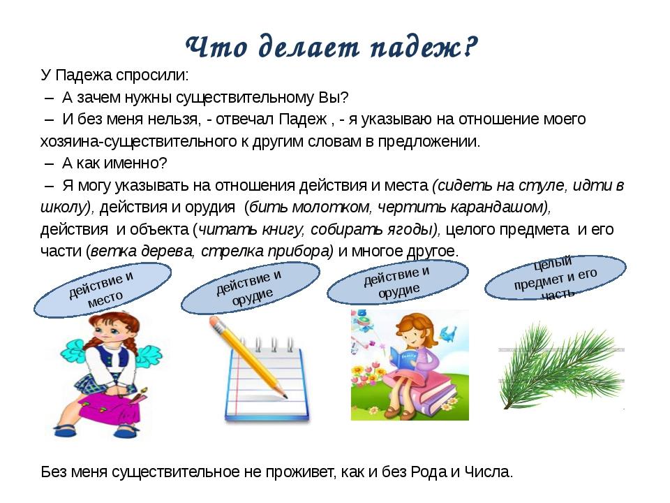 Что делает падеж? У Падежа спросили: – А зачем нужны существительному Вы? – И...