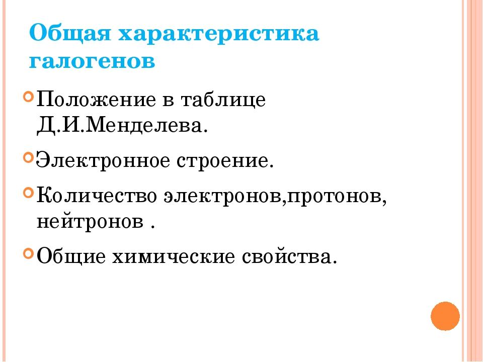 Общая характеристика галогенов Положение в таблице Д.И.Менделева. Электронное...