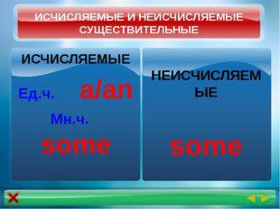 ИСЧИСЛЯЕМЫЕ И НЕИСЧИСЛЯЕМЫЕ СУЩЕСТВИТЕЛЬНЫЕ ИСЧИСЛЯЕМЫЕ Ед.ч. a/an Мн.ч. some