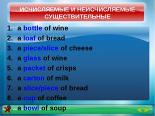 a bottle of wine a loaf of bread a piece/slice of cheese a glass of wine a pa