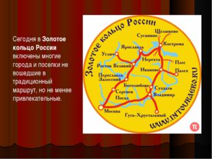Сегодня вЗолотое кольцо России включены многие города и поселки не вошедшие