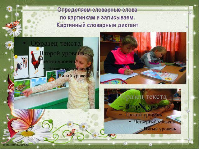 Определяем словарные слова по картинкам и записываем. Картинный словарный дик...