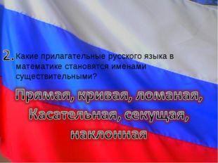 Какие прилагательные русского языка в математике становятся именами существит