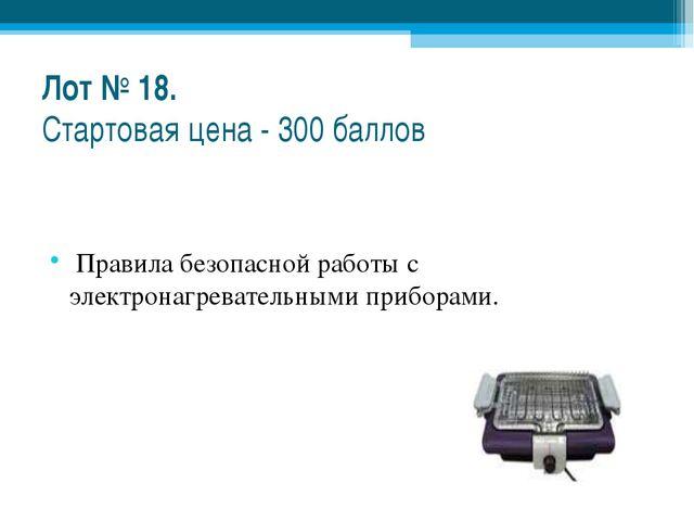 Лот № 18. Стартовая цена - 300 баллов Правила безопасной работы с электронагр...