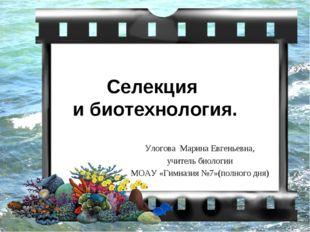 Селекция и биотехнология. Улогова Марина Евгеньевна, учитель биологии МОАУ «Г