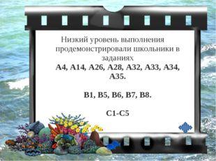 Низкий уровень выполнения продемонстрировали школьники в заданиях А4, А14, А