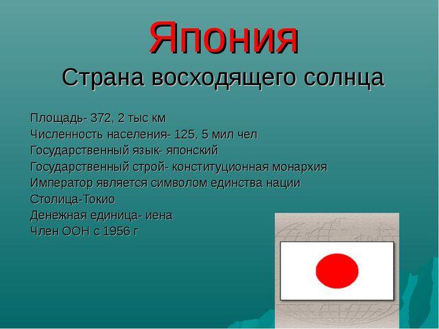 Япония Страна восходящего солнца Площадь- 372, 2 тыс км Численность населения...