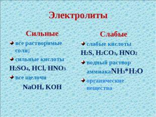 Электролиты Сильные все растворимые соли; сильные кислоты H2SO4, HCl, HNO3 вс