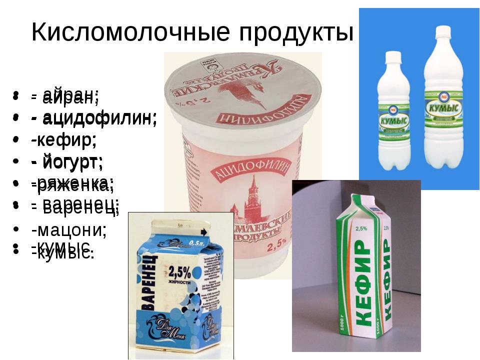 Продукты кефир ряженку и
