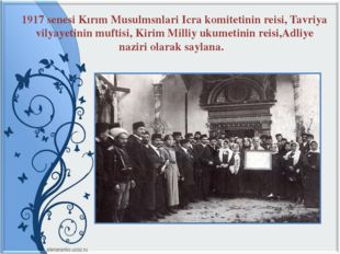 1917 senesi Kırım Musulmsnlari Icra komitetinin reisi, Tavriya vilyayetinin m
