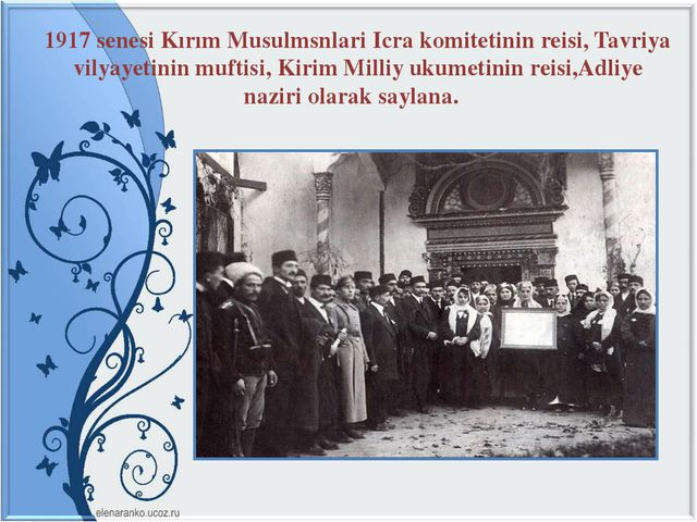 1917 senesi Kırım Musulmsnlari Icra komitetinin reisi, Tavriya vilyayetinin m...