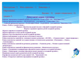 6.11.13 Социальный паспорт группы Многодетные 5; Мать-одиночка – 1; Инвалиды