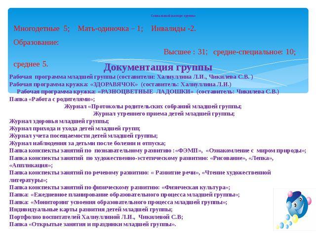 6.11.13 Социальный паспорт группы Многодетные 5; Мать-одиночка – 1; Инвалиды...