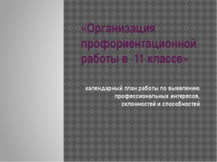 «Организация профориентационной работы в 11 классе» календарный план работы п