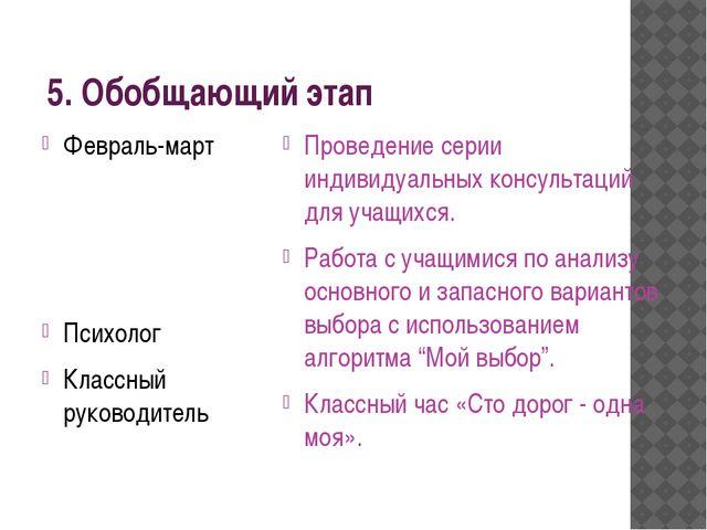 5. Обобщающий этап Февраль-март Психолог Классный руководитель Проведение се...
