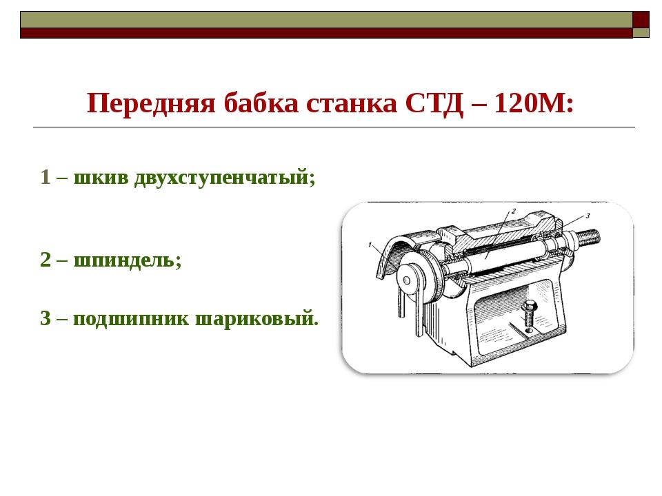 Передняя бабка станка СТД – 120М: 1 – шкив двухступенчатый; 2 – шпиндель; 3 –...