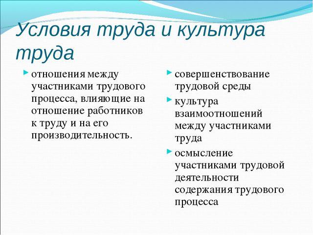 Условия труда и культура труда отношения между участниками трудового процесса...
