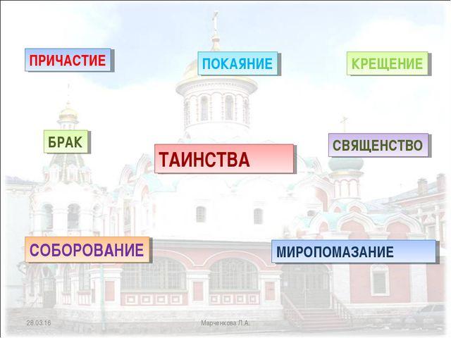 * Марченкова Л.А. ТАИНСТВА КРЕЩЕНИЕ ПРИЧАСТИЕ СВЯЩЕНСТВО МИРОПОМАЗАНИЕ СОБОРО...