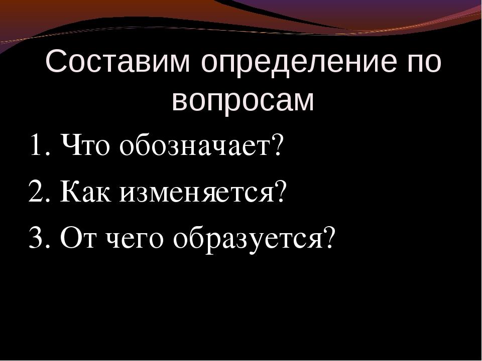 Составим определение по вопросам 1. Что обозначает? 2. Как изменяется? 3. От...
